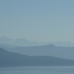 Misty blue hills from Orcas Island